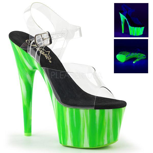 Durchsichtige Sandalette mit grün-weißem Plateau im Candy-Design ADORE-708UVP